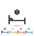 hospital bed with emergency - star of life icon vector image vector image