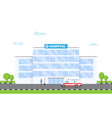 hospital building and doctor and ambulance car vector image
