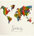 human solidarity day diverse world map hand card vector image vector image