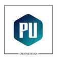 initial pu letter logo template design vector image vector image