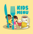 kids menu nutrition food breakfast vector image