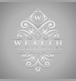 letter w logo - classic luxurious silver vector image vector image