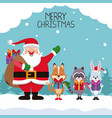 merry chrismtas card cartoon vector image vector image