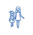 mother with daughter on vacation line icon concept vector image