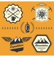 Mountain hiking outdoor symbol emblem label vector image vector image