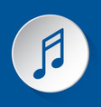 musical note - simple blue icon on white button vector image vector image
