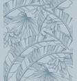 palm leaves and bananas pattern tropic line art vector image