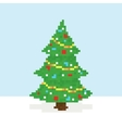 Pixel art christmas tree postcard vector image vector image