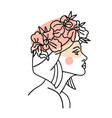 profile woman face with orchid flower wreath vector image