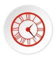 Round clock with roman numerals icon flat style vector image