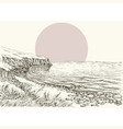 sea beach and cliff sketch vector image vector image