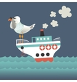 Seagull looking through binoculars on the vessel vector image vector image