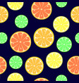 seamless pattern with slices of orange lemon vector image vector image