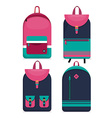Set of 4 backpacks icons Flat style vector image