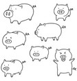 set of pig vector image