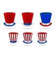 Six independence day hats set in different color vector image