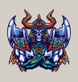 skull viking helmet and axe warrior vector image vector image