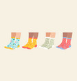 socks on legs set cartoon vector image vector image