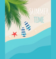 summer beach card with sand sea and palm trees vector image