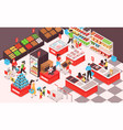 supermarket isometric composition vector image vector image