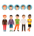 teenage boy with avatar icons set vector image vector image