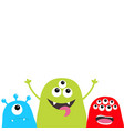 three monster silhouette set head face cute vector image vector image