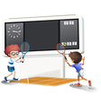 Two boys playing tennis with a big scoreboard vector image