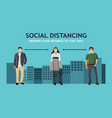 two man and woman working while social distancing vector image vector image