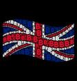 waving british flag pattern of baht icons vector image