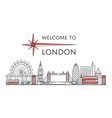 welcome to london poster in linear style vector image vector image