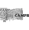 What to consider with band camps text word cloud vector image