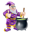 wizard and cauldron vector image vector image