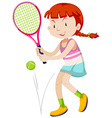 Woman tennis player with racket and ball vector image vector image