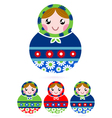 Colorful wooden traditional Russian dolls vector image