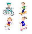 Kids Sports Characters Cycle Racing Skateboarding vector image