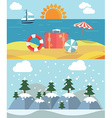 Changing seasons from summer to winter or vector image