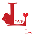 sign of love on red vector image