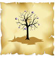 abstract tree on old paper background vector image