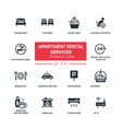 apartment rental service - flat design style icons vector image vector image