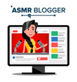 asmr blogger channel female fast help to vector image