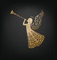 beautiful angel with ornamental wings and trumpet vector image