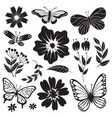 Black and white butterflies and flowers hand