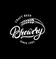 Brewery hand drawn lettering logo label badge vector image