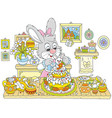 bunny cooking an easter cake vector image vector image