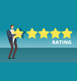 businessman giving five star rank best work vector image