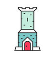 castle tower color icon vector image