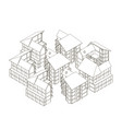 contour of houses isometric view 3d vector image vector image