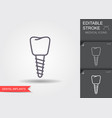dental implant line icon with editable stroke vector image vector image
