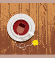 design cup tea on wooden table vector image