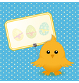 Easter chick and sign on blue background vector image vector image
